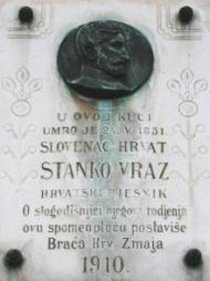 Spomen ploča Stanku Vrazu na zgradi HAZU, Opatička ul., Zagreb.