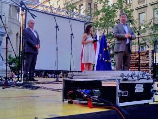 Predsjednik Slovenskog doma i VSNM GZ Darko Šonc, voditeljica programa Ivana Šundov Hojan i veleposlanik RS u RH Vojko Volk (s lijeva nadesno). Foto: a.k.m.