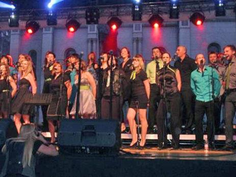 Slovenska vokalna skupina Perpetuum Jazzile na Cvjetnom trgu u Zagrebu
